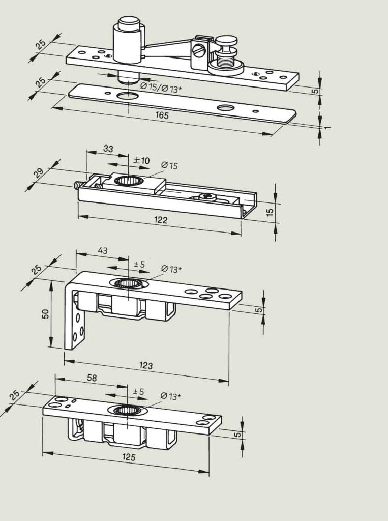 Adjustable top centres - steel   Woodwood Door Controls