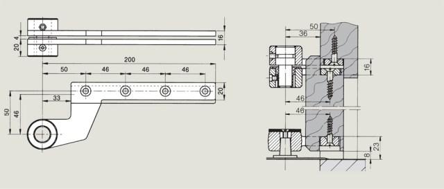 off set timber door top centre for a rebated door | Woodwood Door Controls