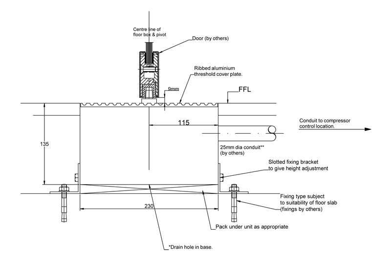 UFSO135 Underfloor operator layout | Woodwood Door Controls