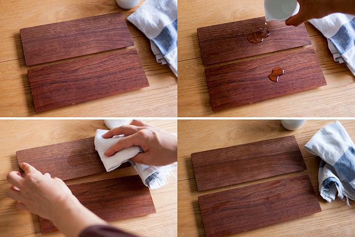 木の小物|フリートレーの撥水効果実験