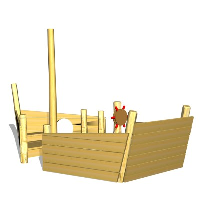 Woodwork AB-lekskepp med skeppsratt, mast, tofflor m.m.