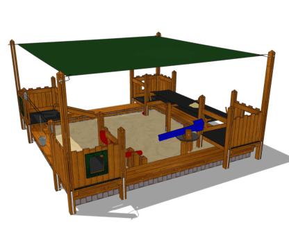 Sandlåda med solsegel-Woodwork AB