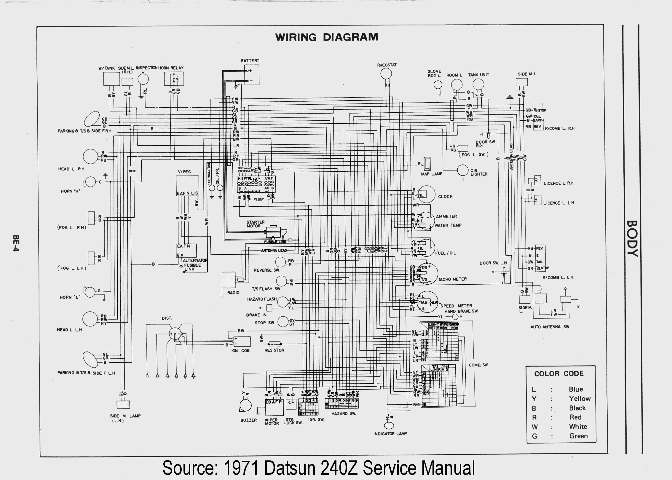 240z Serie I Color Wiring Diagram