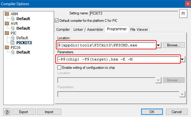 """PICkit 3 and Flowcode 6 - Update """"Location"""" and """"Parameters"""" per Matrix suggestions for PICkit 3"""