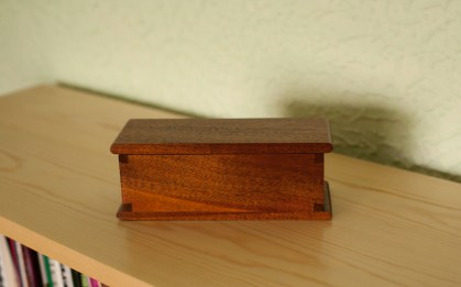 Dovetail Box for a microphone made using some old Brazilian Mahogany, finished with de-waxed shellac then dark wax.