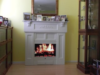 Faux Fireplace of painted Poplar by James McIntosh