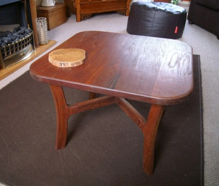 "a small 22"" sq coffee table from salvaged 1"" teak boards"