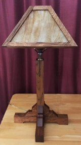 Oak Lamp with Slag Glass
