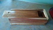 Sliding lid dovetail box-Pallet salvage mahogany
