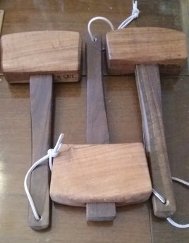 Mesquite and walnut mallets, boiled linseed oil finish