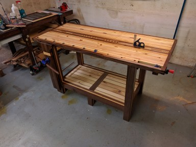 Black Walnut and Red Pine. I decided to make the Roubo design but I watched all Paul's videos religiously and I am really grateful for the knowledge he is sharing. I had a great time learning to make the bench, which features so many of the techniques Paul has been teaching. I know there are many ways I can improve but I wanted to say thank you again to Paul and let him know I'm studying his lessons and applying what he teaches. Thank you!