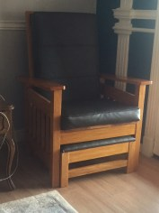red oak mission style with hidden footstool finished with shellac and waxed
