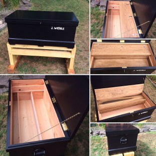 Joiners toolbox made with yellow pine with red oak drawers and white oak runners.