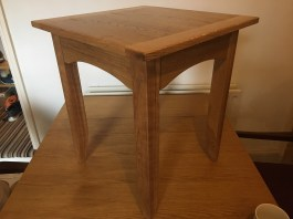 Oak side table. Enjoyed finding the confidence to adapt Paul's design to suit my requirements. Can't stop stroking the tabletop, and love the stripes that oak gives. I'm gutted to be giving it away as a gift.