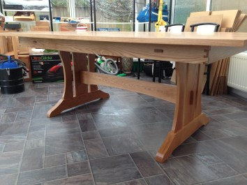 American Oak version of Paul's trestle table upscaled to 2x1.2m, finished in clear satin Osmo oil/wax