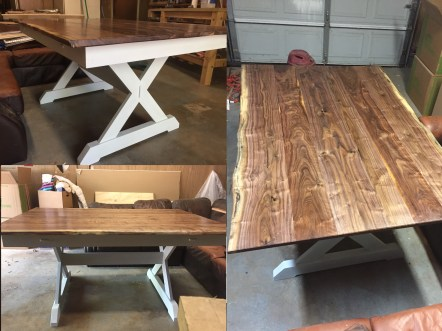 """Adapted Paul's design to more of a """"farmhouse"""" look per my wife's request. Base is hard maple finished with milk paint and one coat of oil based varnish. Top is Oklahoma native black walnut sealed with shellac and finished with two coats of oil varnish. I received all the material rough sawn and performed all dimensioning and joinery with hand tools."""