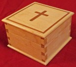 hard maple; cherry inlay; shellac and wax; gift for baby's baptism