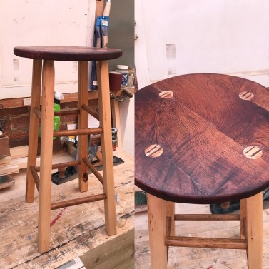 Used Paul's milk stool video for general technique. Sapele seat, European lime legs and white oak foot rests.