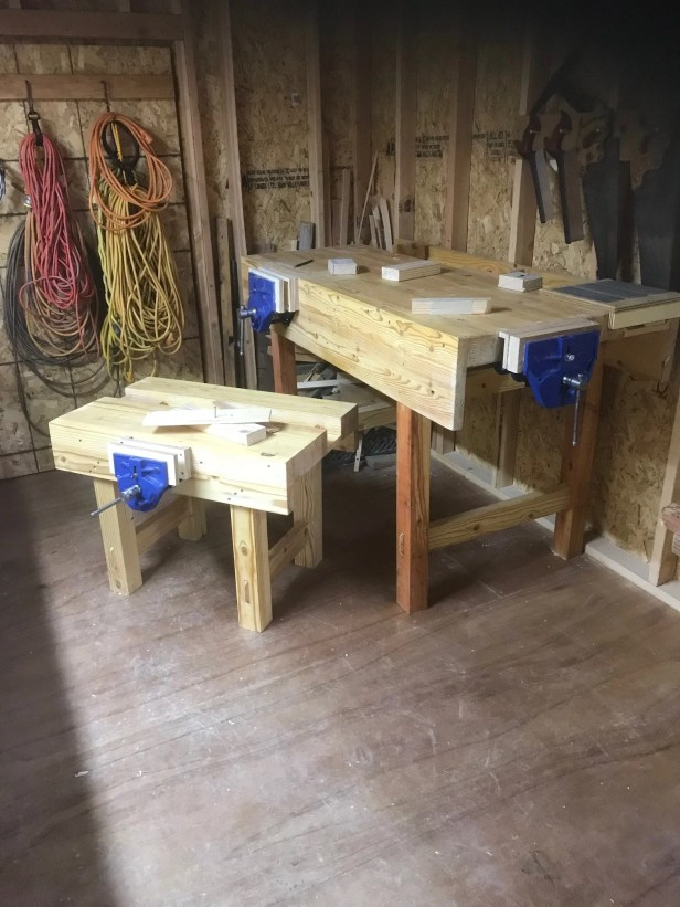 Used fir 2x4's from Home Depot and an old twisted 4x4 for the legs. Made the 4 year old and 2 year old grandson's bench from left over material.