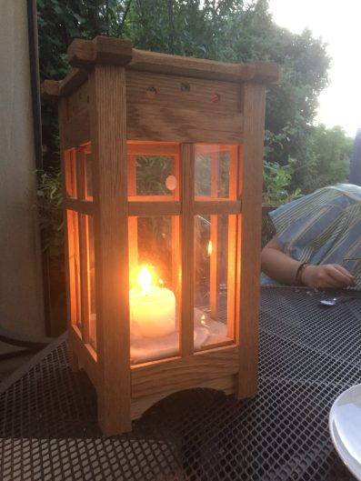 White Oak lamp. The Oak was fumed in ammonia and then finished with Amber Shellac before being given a final couple of coats of wax.