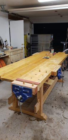 Work Bench, eight foot long with tusked through tenon suspension and 2x12 for tool well.