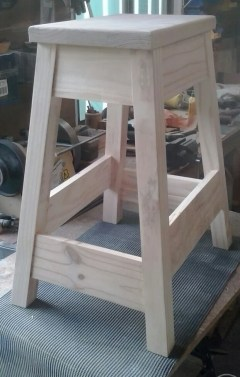 Cafe Stool, legs and stretchers from hoop pine seat from Australian Mountain Ash