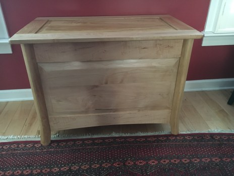 Blanket Chest in Maple with shellac.