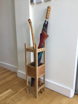 The Oak came from two Stair spindles left over from a previous project and the ply was rescued from a builders tip. I gave the piece three coats of water based varnish. It's a Christmas present for my Mum who always forgets where she put her walking stick.