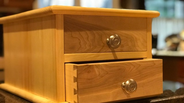 Built from scrap pine intended for the fire pit. Now a most useful craft organizer for my wife. Fronts are maple. Finished with shellac.