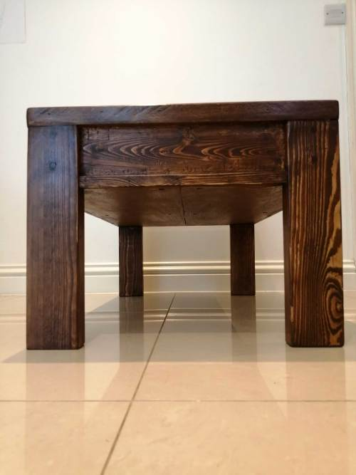 Completed pallet coffee table side view