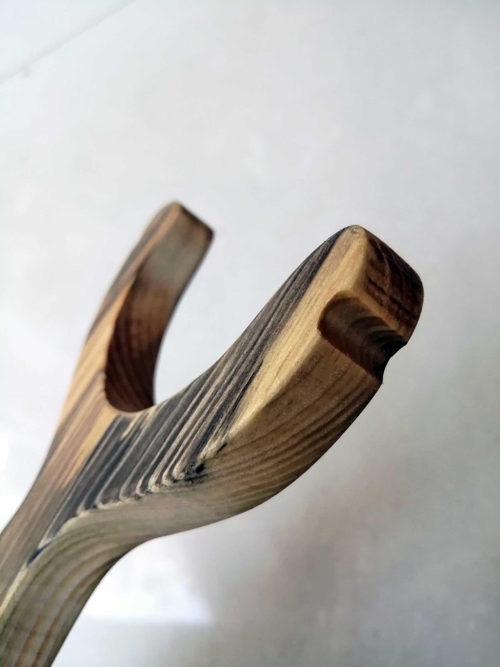 Wooden slingshot close up