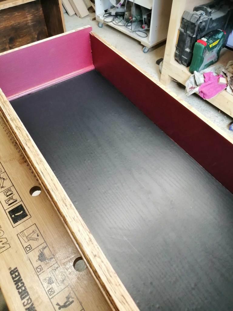 Upcycled bureau desk - Lining added to drawer bottom