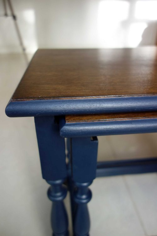 Upcycled nest of tables - Front close up