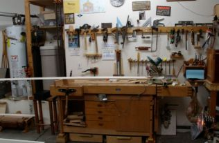 Shop re-configured to cut long baseboards.
