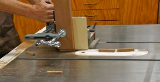 Tenon jig used for second cut for rabbet