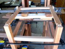 Clamps on blocks to position