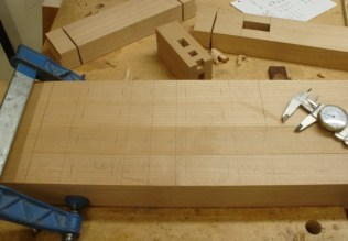 Pieces clamped together for accuracy