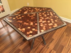 Steel frame segmented end grain table