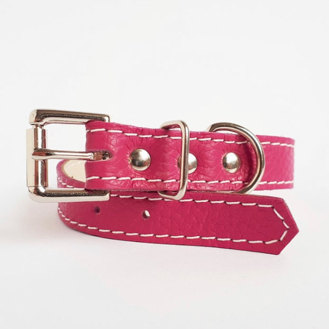 Leather collar Pink