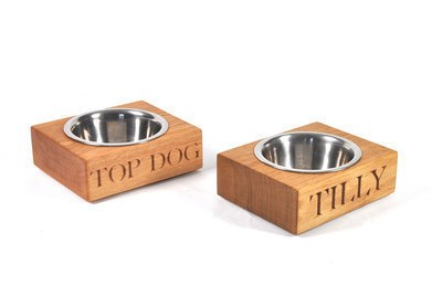 Handmode Oak Single Dog Bowl