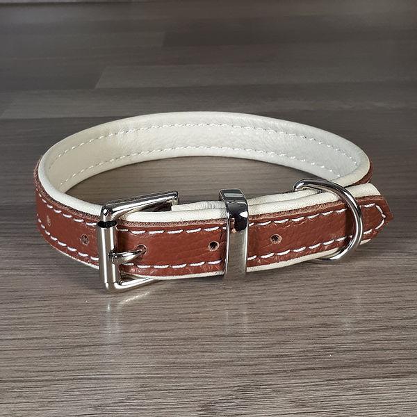 Soft Padded Leather Dog Collar - Tan on Cream