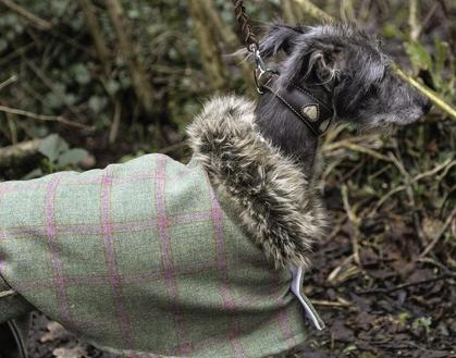 Tweed Estate Coat with Faux Fur - Raspberry