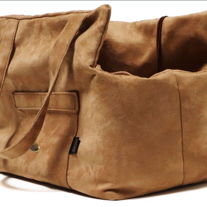 Suede Camel Pick & Sleep Dog Carrier Bag
