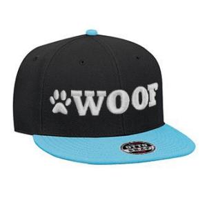WOOF Wool Blend Snapback Cap - Black/Aqua