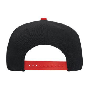 WOOF Wool Blend Snapback Cap - Black/Red Back