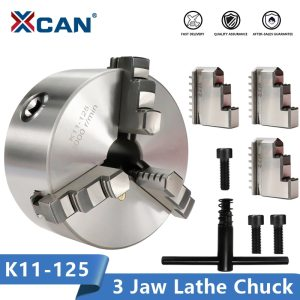 XCAN K11-125 3 Jaw Lathe Chuck Self Centering Hardened Reversible Tool for Drilling Milling Machine Wood Lathe Tool Chuck