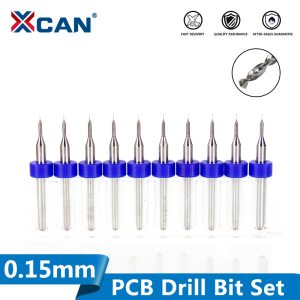 10 Pcs 0.15mm Import Carbide PCB Drill Bits, Print Circuit Board Mini CNC Drilling Bit Set, Woodworking Tools