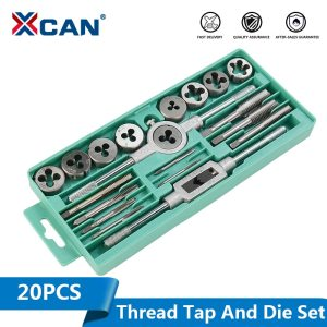 XCAN Thread Tap and Die Set Imperial 20PCS Screw Tap Drill Hand Plug Tap Wrench Threading Hand Tools Tap and Die Set