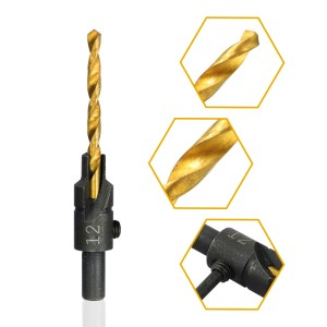 6pcs Countersink Drill Bit Set Titanium Coated HSS Wood Hole Drill Cutter Round Shank Twist Drill Bit #6#8#10#12#14