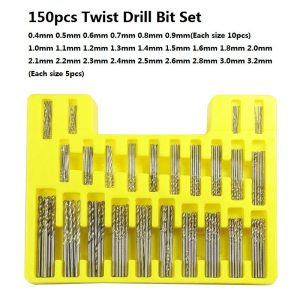 XCAN 150pcs HSS Twist Drill Bit Set 0.4-3.2mm Mini Drill for DIY Hobby Craft Woodworking Gun Drill Bit Cutter Set